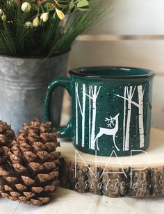 Reindeer    campfire mug    15 ounces by Napcreations on Etsy https://www.etsy.com/listing/488521854/reindeer-campfire-mug-15-ounces