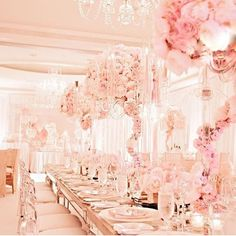 So much pink prettiness we are totally in with this beautiful styling for a wedding reception or kitchen tea #wedding #weddinginspo #weddingreception #weddingstyling #weddingdecor #reception #tablescape #tablesetting #candles #chandeliers #flowercentrepieces #candles #pink #bridal #bridetobe #engaged #bride