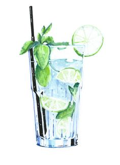Mojito iPhone Case by Art And Illustration, Cocktail Illustration, Food Illustrations, Watercolor Illustration, Watercolor Food, Watercolor Paintings, Watercolors, Food Painting, Food Drawing