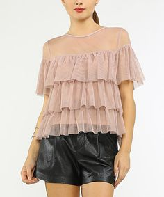 Love this Dusty Pink Semisheer Tiered Top on #zulily! #zulilyfinds