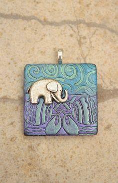 Elephant Pendant Seafoam Purple Blue Silver by Kim Peters