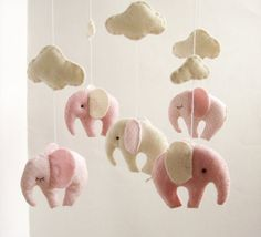 Baby Crib Mobile Elephant Gentel Decor New Born Pink Ivory