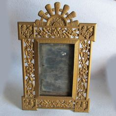 SOLD....Antique c1880s Aesthetic Movement Mirror, Picture Frame with Owls & Birds