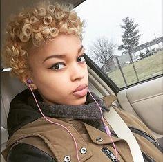 Blonde Curls @damitanavonne - http://community.blackhairinformation.com/hairstyle-gallery/short-haircuts/blonde-curls-damitanavonne/