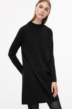 COS image 2 of A-line merino dress in Black