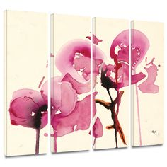 'Orchids I' by Karin Johanneson 4 Piece Painting Print Gallery-Wrapped on Canvas Set