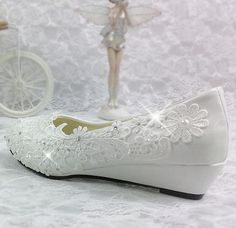 e97894eebd08 3CM wedges heel wedding shoes brides white light ivory lace woman s party  dance shoe bridal dress pumps wedges shoes-in Women s Pumps from Shoes on  ...
