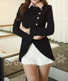 $10.54 Ladylike Style Long Sleeves Irregular Solid Color Single-Breasted Coat For Women