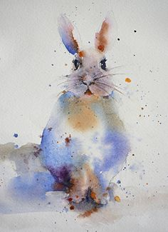 Bunny by Yvonne Joyner Watercolor ~  x