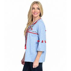 ac70f014ca0 OSO Casuals® Knit 3/4 Bell Sleeve Tie-Neck Tassel Detailed & Embroidered Top