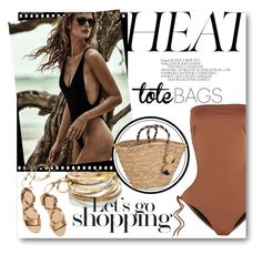 """""""#Beach Tote - Let's Go Shopping"""" by nikkisg ❤ liked on Polyvore featuring Citrine by the Stones, Melissa Odabash, Chanel, NLY Accessories, Loeffler Randall and beachtotes"""
