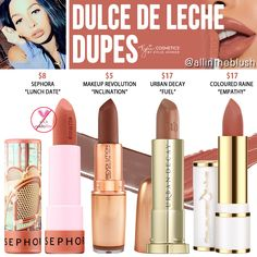 Kylie Cosmetics Dulce de Leche Silver Series Lipstick Dupes - All In The Blush Drugstore Makeup Dupes, Beauty Dupes, Makeup Swatches, Mac Dupes, Mac Lipstick Dupes, Eyeshadow Dupes, Matte Lipstick, Liquid Lipstick, Kylie Jenner