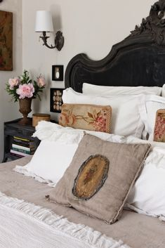 The bed is layered with fine antique linens and pillows stitched with remnants of Aubusson textiles. Home Bedroom, Bedroom Furniture, Bedroom Decor, Victorian Bed, Modern Victorian, California Bedroom, Design Your Bedroom, Mobile Home Decorating, Cottage