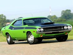 "The Challenger in 1970 T/A trim.  The ""racing"" spec.  In one of the high impact colors."