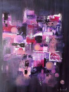 Peinture moderne acrylique Rose Violet Jaune Gris Blanc Noir sur châssis toile coton 38 x 46 cm