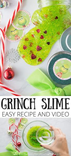 Looking for a fun and unique slime recipe to DIY this holiday season? Look no further! This fun and easy grinch slime recipe will have your kids squealing with delight! So fun, and so easy. Check it out! #slimerecipes #diyslime #slime