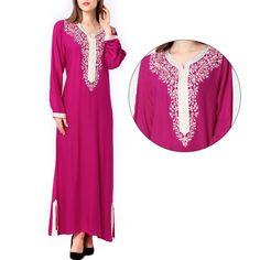 ropa islamica moderna One Piece hijab Robe maxi abaya jalabiya islamique femmes Dress Clothes For Women, Summer Dresses For Women, Muslim Gown, Vestidos Plus Size, Maxi Styles, Hijab Dress, Bodycon Dress Parties, One Piece, Embroidery Dress