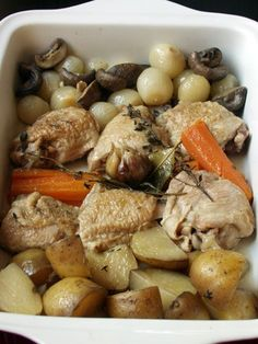 Crockpot Chicken Fricassee from Outlander Kitchen --- delicious. subbed breasts for thighs, canned mushrooms instead of fresh, & forgot the onions. Chicken Vegetable Stew, Chicken And Vegetables, Dinner Entrees, Dinner Recipes, Dinner Ideas, Stuffed Mushrooms, Outlander Recipes, Crockpot Recipes, United Kingdom