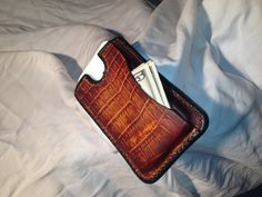 Handmade Leather Phone Wallet with Gator Accents  An even cooler one! Great gift for a guy!