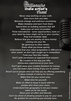 The Millionaire Indie Artist's Creed by @TumiMaape