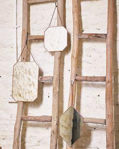 mirrordeco.com — Hanging Mirror on Chain - Diamond Shaped Copper Frame  H:30cm