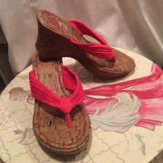 SO wedges. Cork and pink! Size 6 SO wedges. Cork and pink! Size 6 SO Shoes Wedges