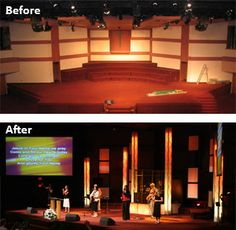 House of Worship before versus after stage design elements are added