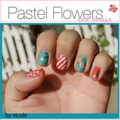 pastel flowers nail design. ♥ - Polyvore