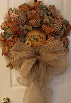 Wreath Fall Wreath Autumn Wreath by WruffleWreathsbyLana on Etsy