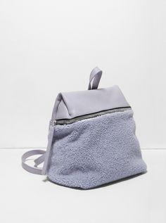 KARA Handbags Lavender Shearling Backpack with Pebble Leather Fashion Handbags, Fashion Bags, Fashion Backpack, Pebbled Leather, Leather Bag, Sacs Design, Mk Bags, Backpack Bags, Bag Accessories