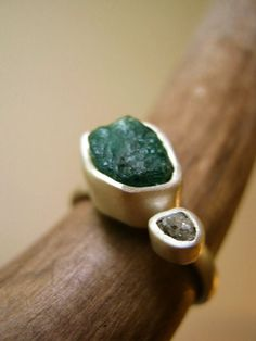 Engagement Ring with Rough Emerald by metalmorphoz
