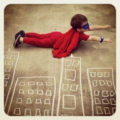 Sidewalk Chalk + Superhero Costume + Instagram = Viola ...Cool Superman Pic ;)