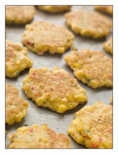 Corn Fritters via Stay at Home Mum.  Add wholemeal flour for more fibre, sweet chilli sauce and shallots add extra zing.