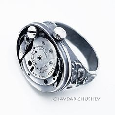 Solid silver steampunk ring by Chavdar Chushev.  All parts sterling silver. steampunk steampunkrings silver ring silversmith handmade handcrafted jewellery jewelry стимпанк gothic jewelry  Steampunk style steampunk accessories one of a kind jewelry  rings rolex watch parts  gears watch mens ring  industrial jewelry