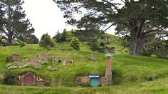 A view of Hobbiton in Matamata, New Zealand.