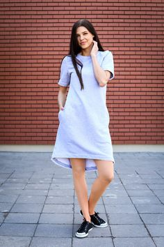 Gray cotton short sleeve dress with pockets