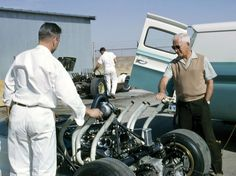 Fall, 1964. Zora Arkus Duntov puts his hand into the exhaust flow of the CERV II at the Chaparral facility. Chevrolet used Hall's Rattlesnake Raceway to test production cars and experimental vehicles. Note the Chaparral 2 in the background. GM photo.