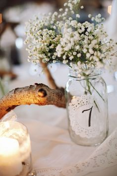 myWedding: vintage decorations with paper doilies attached to vases with table numbers / Doily Wedding Rustic Country Wedding Decorations, Rustic Wedding, Doily Wedding, Wedding Table, Wedding Flowers, Vineyard Wedding, On Your Wedding Day, Wedding Styles, Wedding Ideas