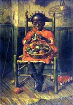 *ROSELAND Harry H. « Woman's Work is Never Done The Little Knitter*