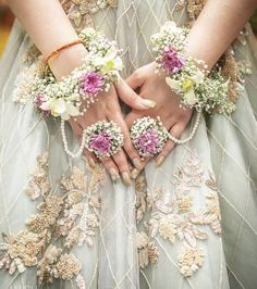 Floral jewellery adorns the beauty of a bride. Floral jewellery by Indian Wedding Jewelry, Indian Bridal, Bridal Jewelry, Indian Weddings, Pakistani Bridal, Silver Jewelry, Indian Jewelry, Rustic Weddings, Bridal Necklace