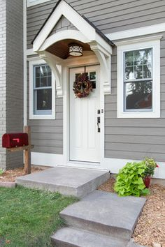 Cape Cod Whole House Renovation - traditional - Entry - Minneapolis - Anchor Builders Front Door Canopy, Front Door Entryway, Side Door, Front Door Overhang, Portico Entry, Porches, Exterior Siding, Exterior Paint, Beige House Exterior