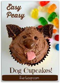 This cuteness is complete in minutes! Dogs and cupcakes are both great, but dog cupcakes? That's the bomb.  Grab a few easy-to-find items from the store and you're on your way to hero status!