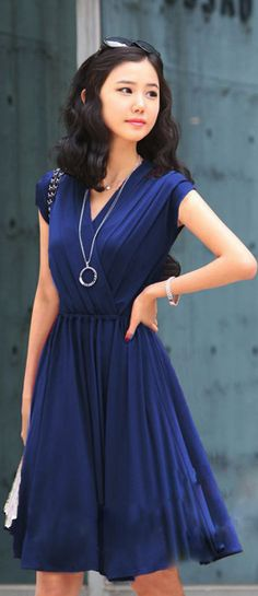 Blue cinched waist A line dress for that special occassion ... lovely !