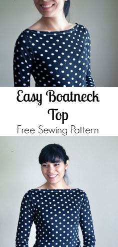 Easy Boatneck Top Free Sewing Pattern: Learn how to make an easy boatneck top with this step by step sewing tutorial. Free Sewing Pattern included!