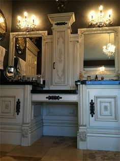 Another idea for a Master Bath vanity!  I like because it has the makeup area and a counter cabinet.