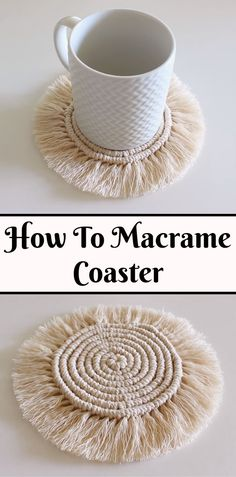 Macrame coaster is very easy project, every step is explained in step by step guided video tutorial. Macrame Wall Hanging Diy, Macrame Plant Hangers, Macrame Art, Macrame Projects, Yarn Projects, Macrame Knots, How To Macrame, Macrame Jewelry, Rope Crafts