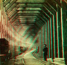 "https://flic.kr/p/7Ba6qD | Snow Gallery Central Pacific Railroad anaglyph3D | ANAGLYPH, conversion of original card stereoview in my collection.   ""252. Snow Gallery around Crested Peak. Timbers 12X14 in., 20 in. apart.""  Central Pacific Railroad, Scenes in the Sierra Nevada Mountains.  Photographed and Published by Alfred A. Hart. 1865-69. This image views in 3D when wearing RED/CYAN 3D glasses.  More images of this type can be found by searching ""anaglyph""."