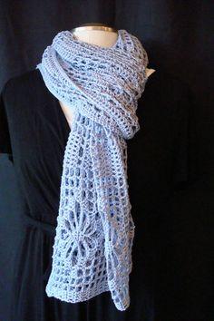 Crocheted Wrap Wedding Shawl Stole Rectangular Shawl by gulickkr on etsy. Periwinkle Wedding, Periwinkle Color, Crochet Flower Patterns, Crochet Flowers, Wedding Shawl, Wedding Wraps, Yarn Thread, Special Dresses, Filet Crochet