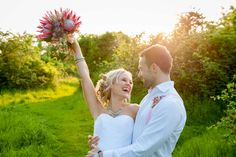 Fun wedding photo with King Protea bouquet Post Wedding, Wedding Photos, Protea Bouquet, King Protea, Wedding Bouquets, Wedding Dresses, London Wedding, Photo Sessions, Wedding Photography