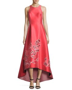 Sleeveless+Floral+Cutout+High-Low+Gown,+Coral+by+Sachin+&+Babi+at+Neiman+Marcus.